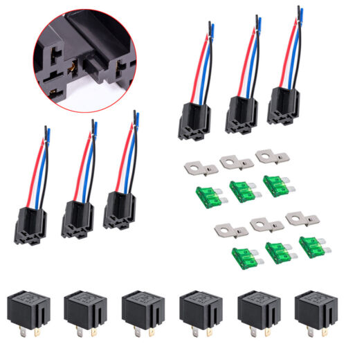 12V DC 40//30 Amp 4-Pin Automotive Relay Harness Set Switch Fuse 6 pack
