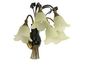 Applique classico rustico country ferro battuto floreale verde oro 5