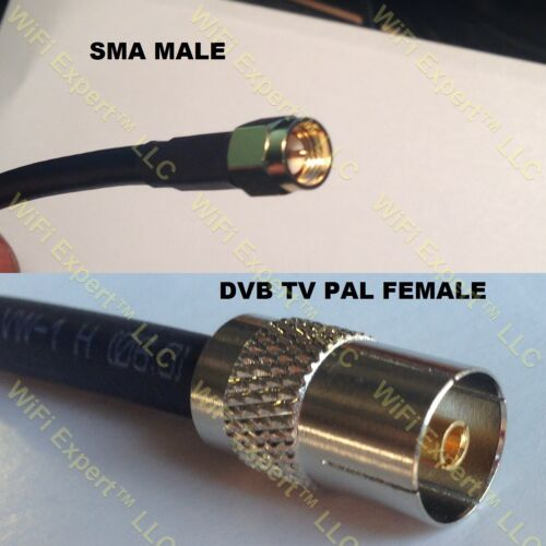 USA-CA RG316 SMA MALE to DVB TV Pal Female Coaxial RF Pigtail Cable
