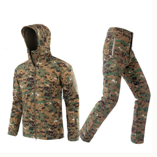 Shark Skin Soft Shell Mens Tactical Camo Military Hunting Fleece Jacket Pants