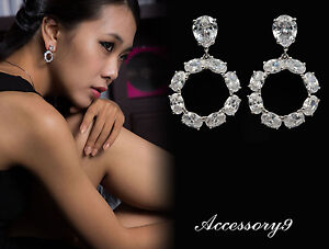 Buy Cheap Micro Pave Cubic Zircon White Gold Plate Wedding Bride Hollow Round Earrings A20 Engagement & Wedding