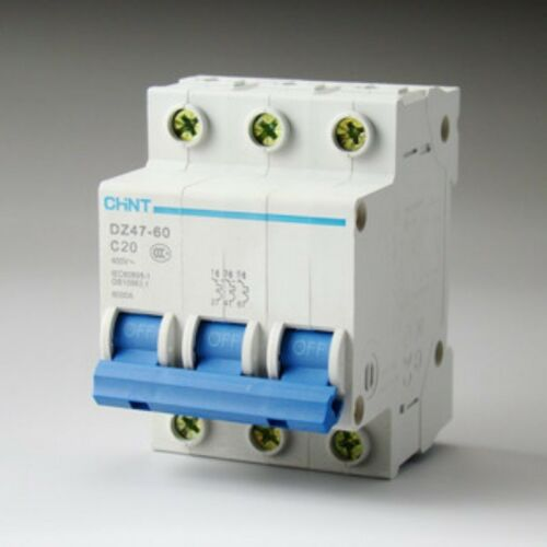 DZ47-60 C20 AC230//400V 3P 20A Rated Current 3 Pole Miniature Circuit Breaker