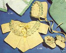 Vintage Knitting PATTERN to make Baby Popcorn Sweater Jacket Set Cap Booties Pop
