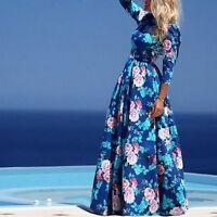 Femme Chiffon Boho Longue Robe Floral Maxi Tenue Beach Party Dress Cocktail S-xl