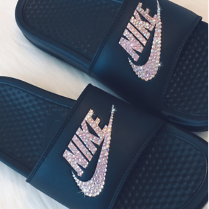 2b2c93b4bea BLING Nike Slides ROSE GOLD and BLACK Bedazzled Nike JDI CRYSTAL ...