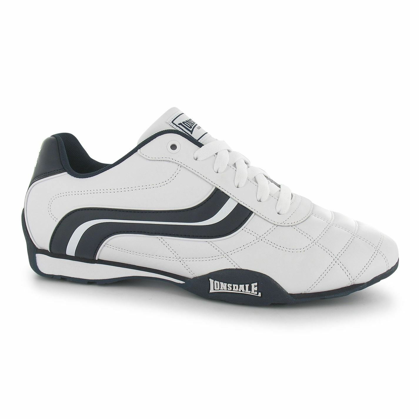 Lonsdale Camden Trainers Mens White/Navy Casual Sneakers Shoes Footwear