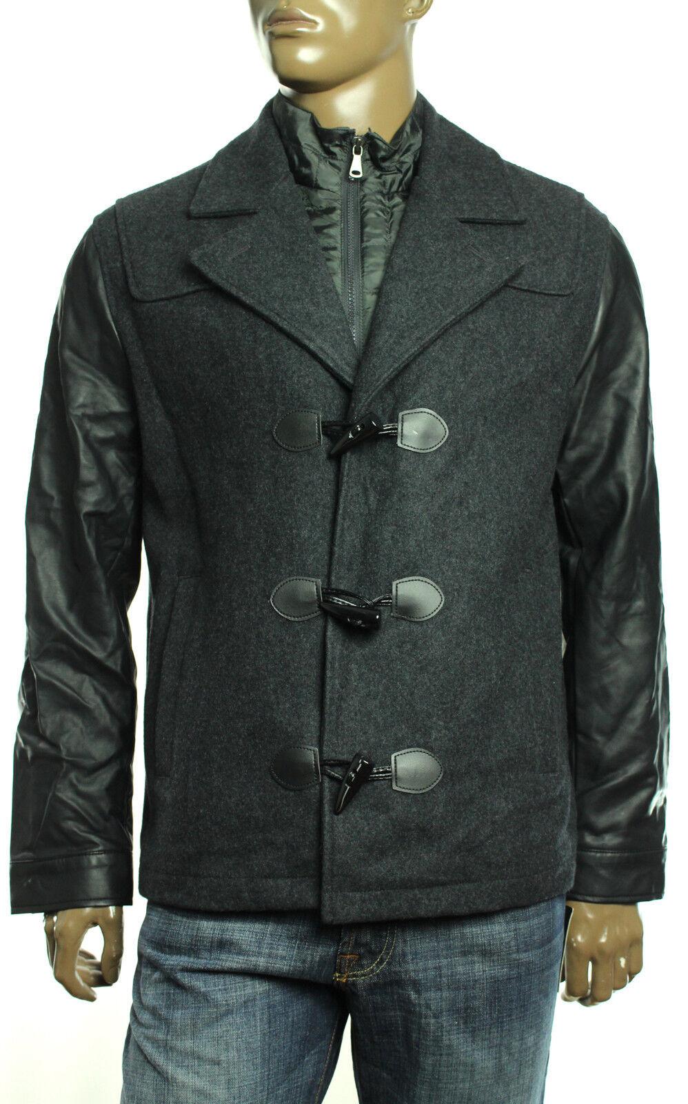 New Mens INC International Concepts Wool Blend Charcoal Mix Media Bibbed Coat XL