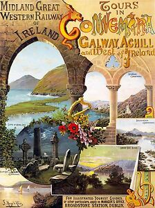 VINTAGE TRAVEL WEST IRELAND GALWAY ACHILL ART POSTER PRINT LV5043