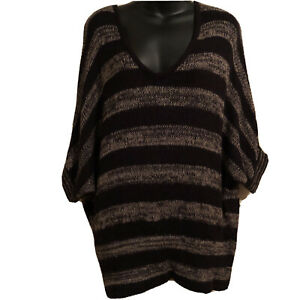 Forever-21-Sweater-S-Over-Sized-Open-Knit-Lightweight-Striped-Black-Brown-Dolman