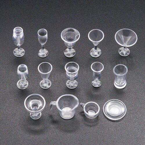1:12 Miniature 14Pcs Clear Cocktail Cups Set Tableware Kitchen Dinner Dollhouse