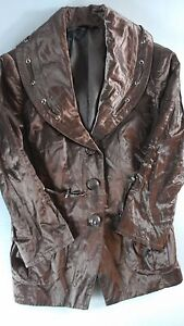 Soma-Intimates-Cargo-Drawstring-Jacket-NEW-Womens-XS-Mochaccino-1-2-Sleeve-Shiny