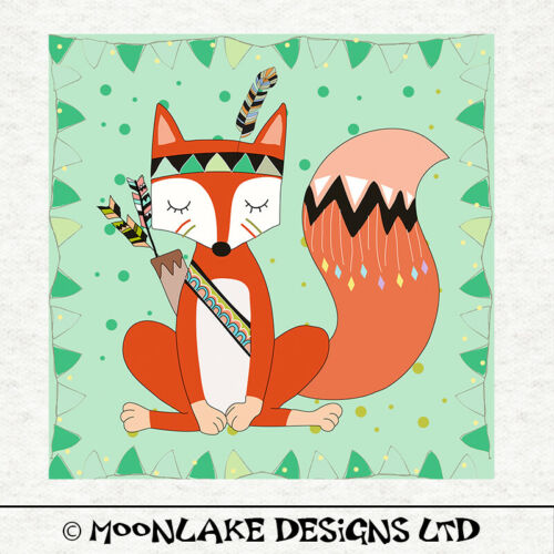 Children-Fox Design Fabric Craft Panels in 100/% Cotton or Polyester