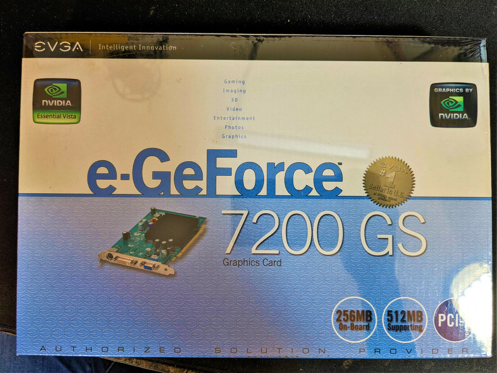 EVGA NVIDIA e-GeForce 7200 GS 256MB DDR2 PCI-E x16 1.0 New Sealed In Box