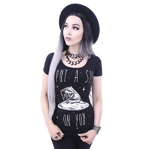 Restyle-I-Put-A-Spell-On-You-Witch-Hat-Occult-Black-Short-Sleeved-Tshirt-Top