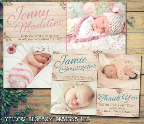 10 Personalised Thank You New Baby Birth Announcement Cards Newborn Boy or Girl