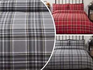 Highland Tartan Check 100/% Brushed Cotton Thermal Duvet Cover Sets Bedding Sets