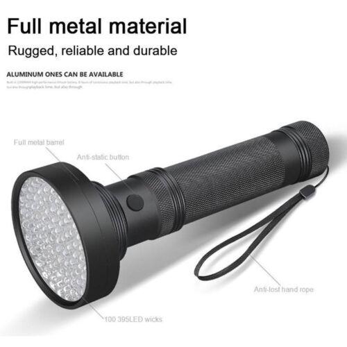 100 LED UV Ultra Violet Black light Flashlight Lamp Torch Inspection Light DE