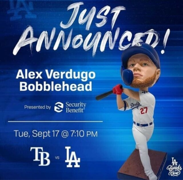 2019 Los Angeles Dodgers Alex Verdugo  bobblehead SGA New 9/17