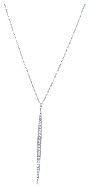 f5a083571b82d MICHAEL KORS 28 inch Crystal Pave Matchstick Silver Tone Charm Necklace  MKJ3519