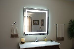"Front-Lighted LED Bathroom Vanity Mirror: 36"" x 32"" - Rectangular - Wall-Mounted"