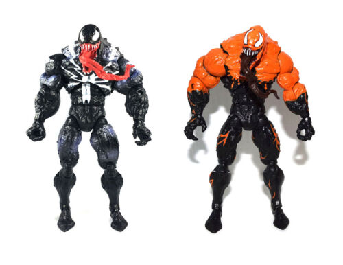 "Marvel Comic 7/"" Spider-Man Black /& Variant Orange Venom Loose Action Figure Set"