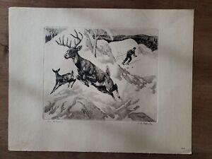 034-The-Intruder-034-Signed-Art-Skier-amp-Deer-Etching-by-R-H-Palenske-1884-1954