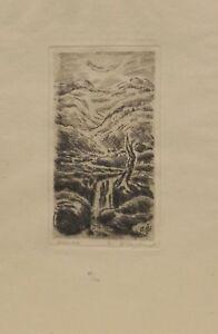 """"""" Paysage Avec Chute D'eau """" Gravure à L'eau-forte 87/100 Sign.hildenbrand Et D'Avoir Une Longue Vie."""