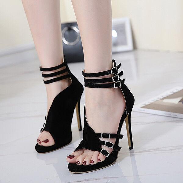 Sandali eleganti tacco stiletto 11 cm nero simil pelle eleganti 9844