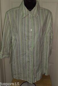 Fashion-Bug-Womens-Green-White-Brown-Button-Down-Shirt-Top-Blouse-Size-18W-20W