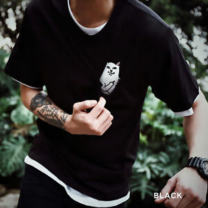 Hot-Sale-Women-Men-Middle-Finger-Pocket-Cat-T-shirt-Summer-Short-Sleeve-Tops-Tee