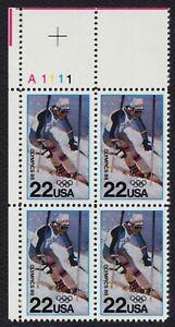 #2369 22c 1988 Invierno Olimpiadas, Plt Negro [A1111 Ul ] Nuevo Cualquier 4=