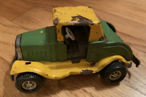 Vintage-1970-Topper-Toys-Vintage-Cruiser-Pressed-Steel-Yellow-amp-Green-Needs-TLC