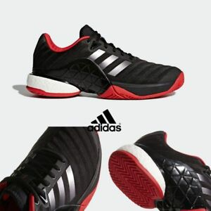 newest 08e31 6168b Image is loading Adidas-Tennis-Barricade-2018-Boost-Shoes-Black-CM7829-