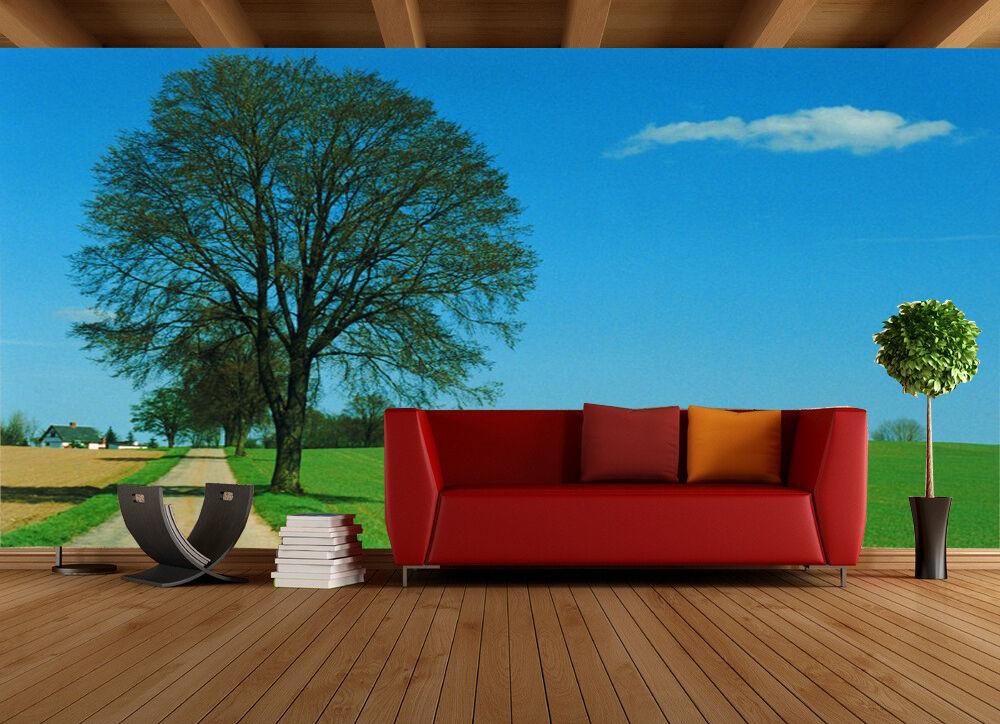3D Tree large grassland 0646 Wall Paper Wall Print Decal Wall Deco AJ WALLPAPER