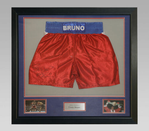 Frank Bruno Signed Custom Made Boxing Trunks In A Frame New
