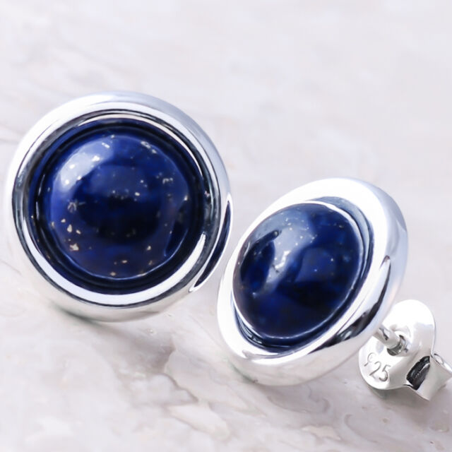 925 Sterling Silver Stud Earrings Gemstone Cabochon 8 mm Lapis Lazuli