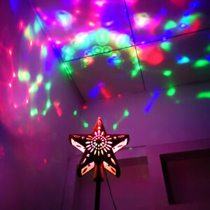 Christmas Tree Star Topper Lighted Colorful Light Glitter Party Ornaments Decor.