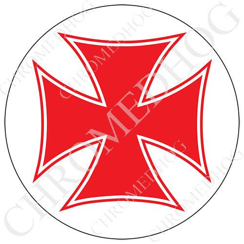 Premium Round 3M Epoxy Gel Domed Decal or Flat Sticker Red Iron Cross White