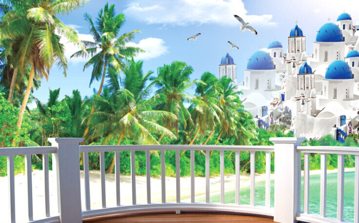 3D Tropischer Baum, Villen 58 Fototapeten Wandbild Fototapete BildTapete Familie