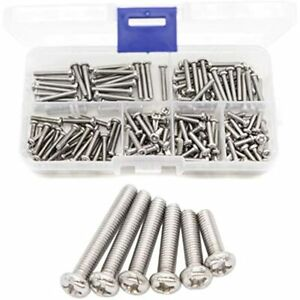 BinifiMux 180pcs Pan Head Phillips Drive M3 Machine Screws 304 Stainless Steel,