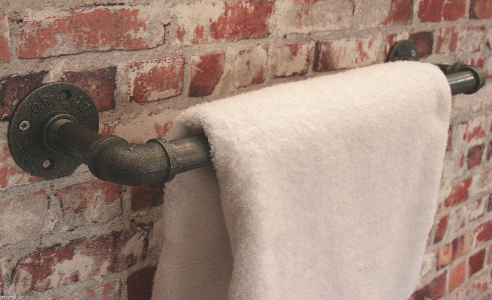 Industrial Steel Complete Bathroom Set - Toilet Roll Holder Towel Rail & Hook