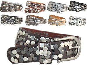NIETENGURTEL-Damen-Kunst-Leder-XL-Vintage-Nieten-Guertel-85-90-95-IT-Belt-H-M-188