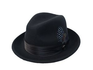 117836b1e1a Men s Fedora Dress Hat Solid Black UN-100 100% Australian Wool S