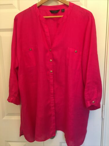 Investments Woman 2X Button Up Tunic Hot Pink 100%