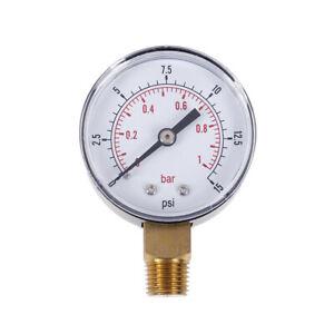 50mm Low Pressure Gauge for Fuel Air Gas Water 0-15 PSI 0-1 Bar 1//4 BSPT 60 ℃