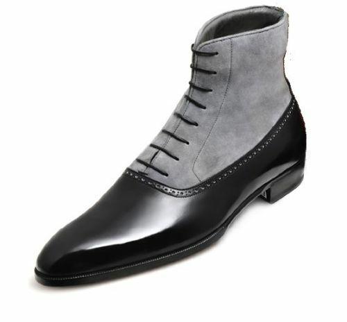 Homme Fait à la main bottes biCouleure noir gris cuir Formal Wear   Décontractée Chaussures