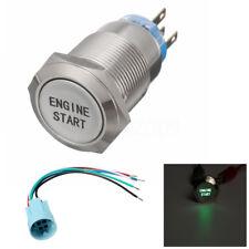 12V 19MM Metal Momentary Green LED ENGINE START Push Button Switch Socket