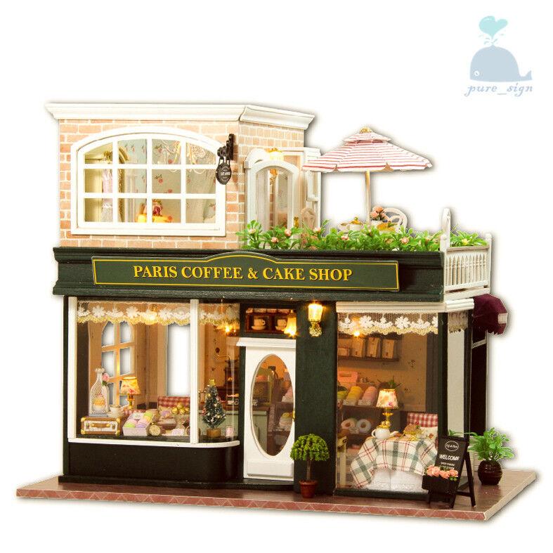 DIY Handcraft Miniature Project Holzen Dolls haus My klein Coffee Shop n Paris