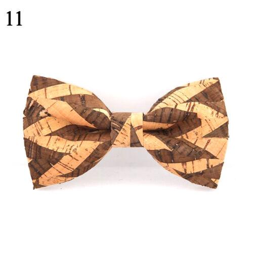 Cork Wooden Bow Tie Men/'s Novelty Handmade Solid Bowtie Wedding Party Neckwear B