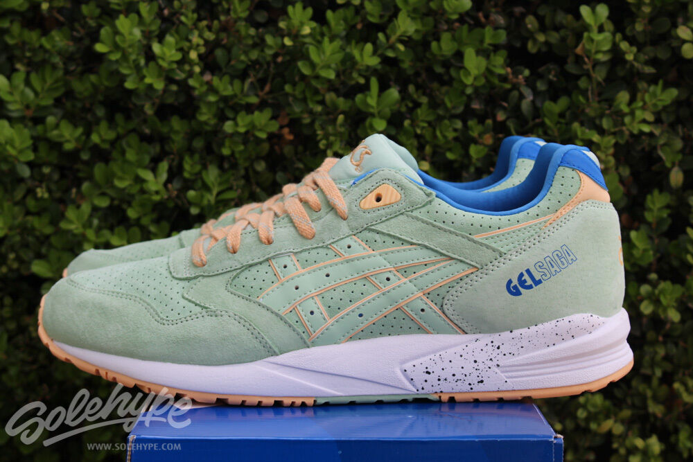ASICS GEL SAGA SZ 9 SMOKE GREEN EASTER PACK H6A0L 7474